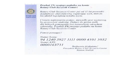 Przekaż 1% swojego podatku na konto Rotary Club Szczecin Center!