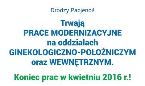 Prace modernizacyjne na oddziałach ginekologiczno-położniczym oraz wewnętrznym.